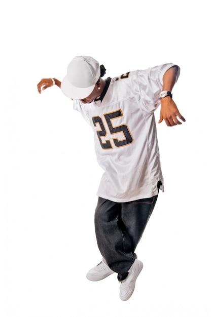 Junge hip-hop-tänzerin auf weiß Kostenlose Fotos