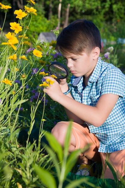 Junge mit lupe im sommergarten Premium Fotos