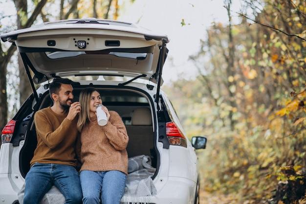 Junge paare, die an der rückseite eines trinkenden tees des autos im wald sitzen Kostenlose Fotos