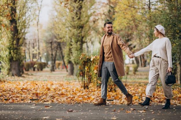 Junge paare zusammen in einem herbstpark Kostenlose Fotos