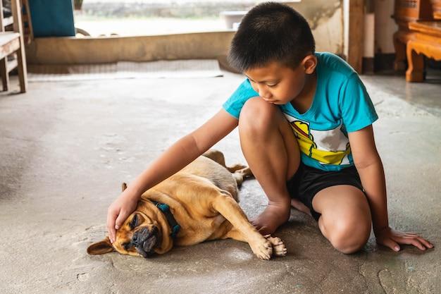 Junge und sein hund Premium Fotos