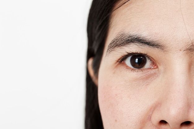 Junger asiatischer frauengesichtsabschluß oben Premium Fotos