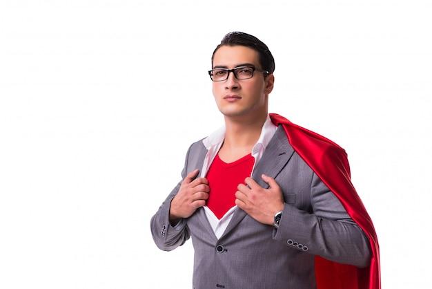 Junger geschäftsmann, der rote abdeckung auf weiß trägt Premium Fotos