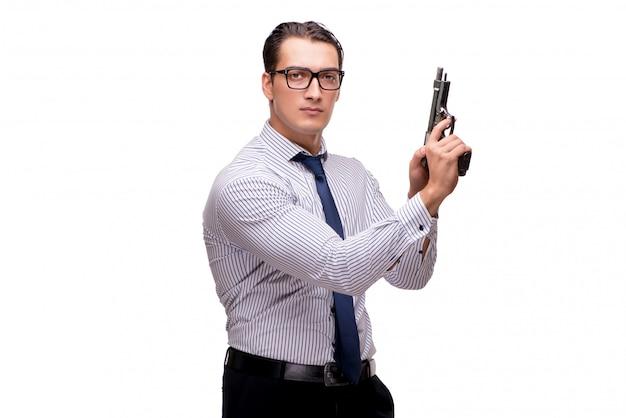 Junger geschäftsmann mit der gewehr getrennt auf weiß Premium Fotos