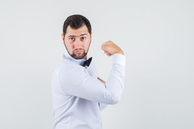 Junger kellner, der armmuskeln im weißen hemd zeigt und kraftvoll aussieht. . Kostenlose Fotos