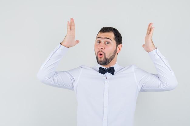 Junger kellner, der größenzeichen im weißen hemd zeigt und erstaunt, vorderansicht schaut. Kostenlose Fotos