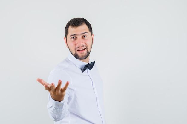 Junger kellner, der hand in der fragenden geste im weißen hemd streckt und selbstbewusst, vorderansicht schaut. Kostenlose Fotos