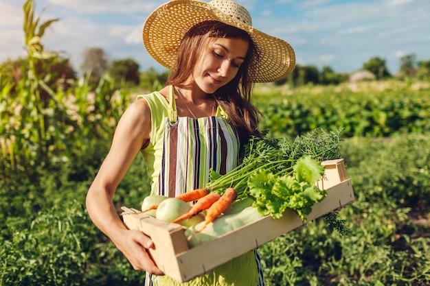 Junger landwirt hält holzkiste mit frischem gemüse gefüllt, frau sammelte sommerkarotten, salaternte, Premium Fotos