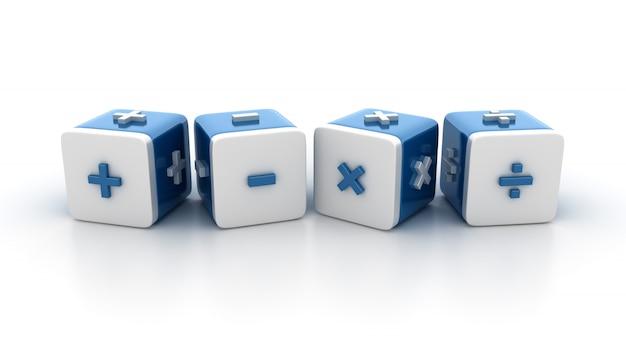 Kachelblöcke mit math-symbolen Premium Fotos