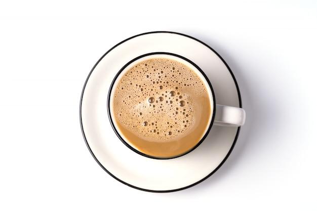 Kaffee mit milch in einer schale lokalisiert Premium Fotos
