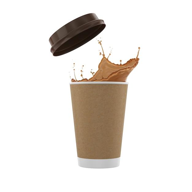 Kaffeeflüssigkeitsspritzer mit pappbecher Premium Fotos
