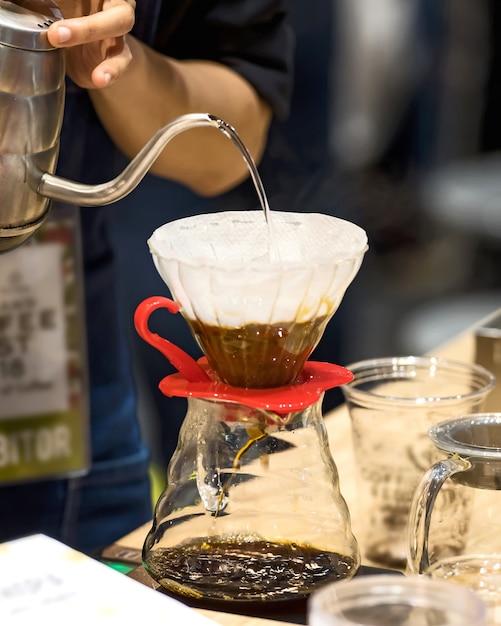 Kaffeetropfen stil. Premium Fotos
