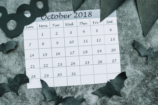 Kalender von oktober 2018 unter dekorativen schlägern Kostenlose Fotos