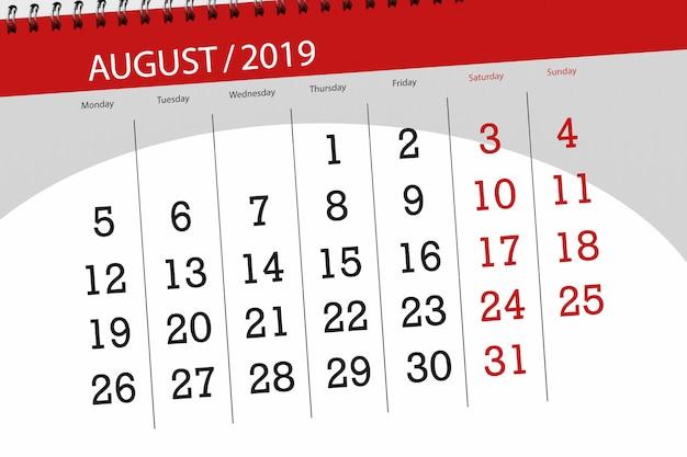 Kalenderplaner für den monat, termin tag der woche 2019 august Premium Fotos