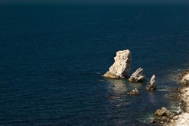 Kalksteinfelsen im dunklen düsteren meerwasser, nahe der küstenlinie Premium Fotos