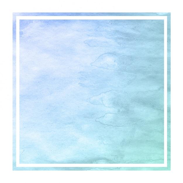 Kalte blaue hand gezeichnete rechteckige rahmen-hintergrundbeschaffenheit des aquarells mit flecken Premium Fotos