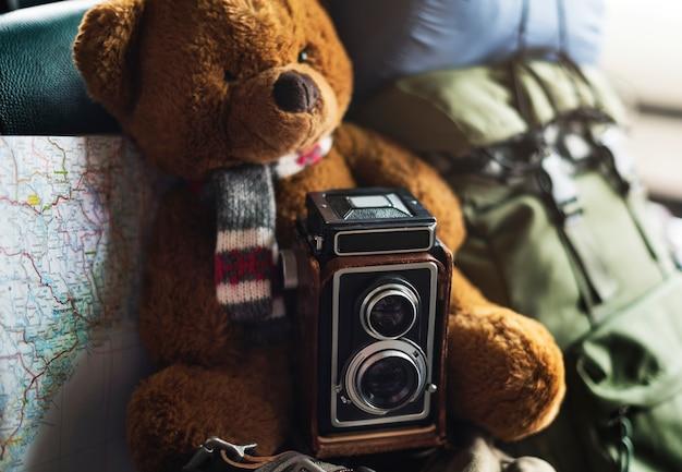 Kamera-weinlese-karten-foto-standort-art-konzept Premium Fotos