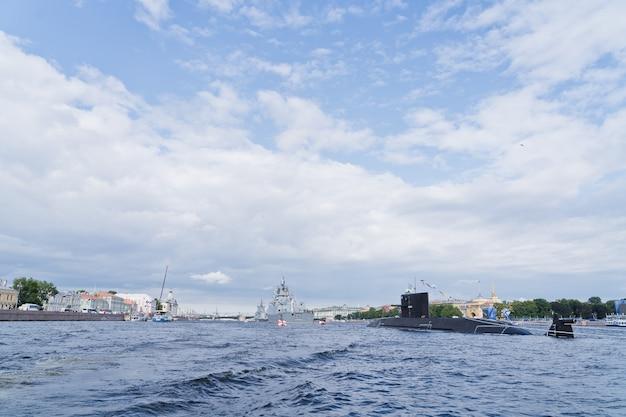 Kampf u-boot der russischen marine. die feier des tages der marine. Premium Fotos