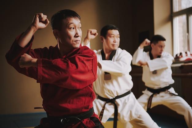 Karateunterricht bei einem erfahrenen lehrer in der halle. Premium Fotos