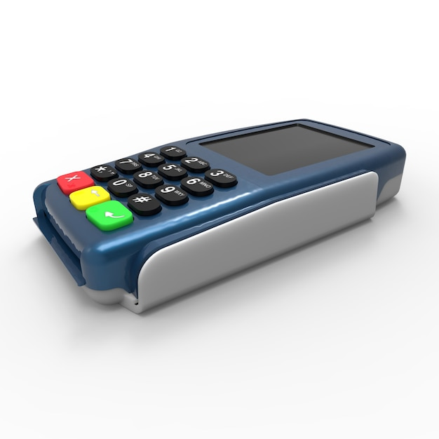 Kartenzahlungsterminal. pos-terminal isoliert auf weißem hintergrund Premium Fotos