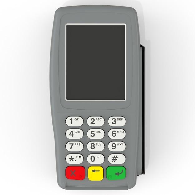 Kartenzahlungsterminal pos-terminal lokalisiert auf weiß Premium Fotos