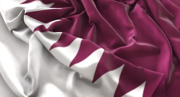 Katar-flagge gekräuselt schön winken makro nahaufnahme schuss Kostenlose Fotos