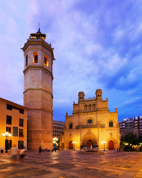 Kathedrale der heiligen maria im castellon de la plana in der nacht Kostenlose Fotos
