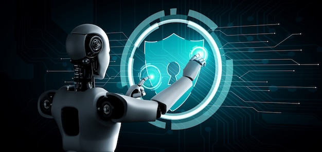 Ki-roboter, der cybersicherheit zum schutz der privatsphäre verwendet Premium Fotos