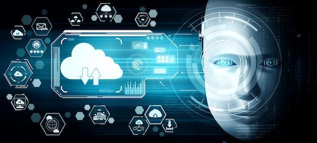 Ki-roboter mit cloud-computing-technologie zum speichern von daten auf einem online-server Premium Fotos