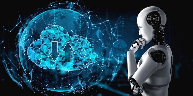 Ki-roboter mit cloud-computing-technologie zum speichern von daten auf einem online-server. Premium Fotos
