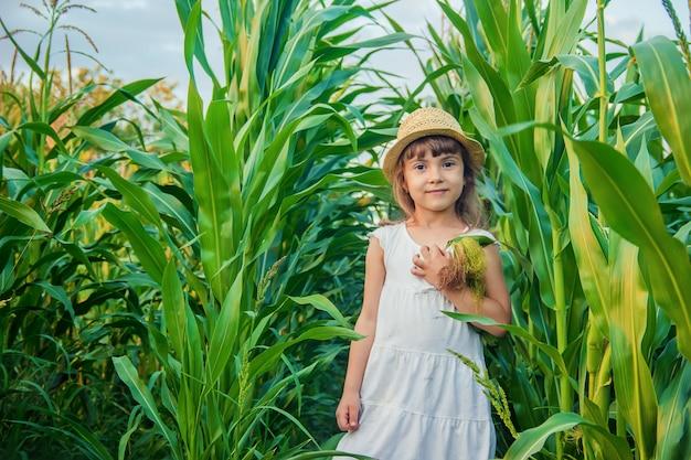 Kind im bereich mais. ein kleiner bauer selektiver fokus. Premium Fotos