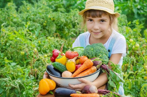 Kind im garten mit gemüse in seinen händen. Premium Fotos