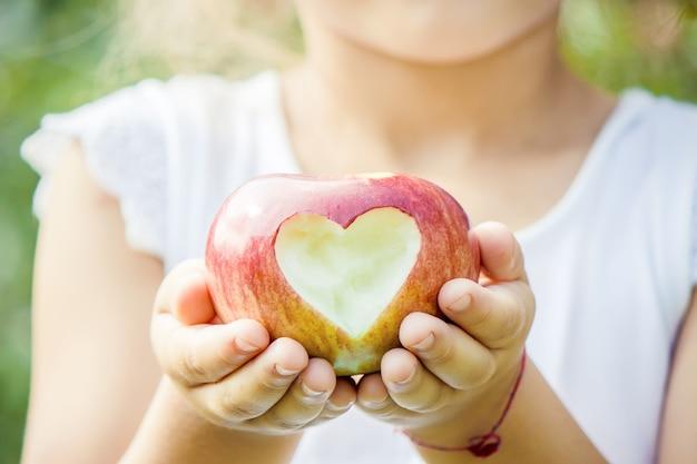 Kind mit äpfeln im sommergarten. selektiver fokus. Premium Fotos