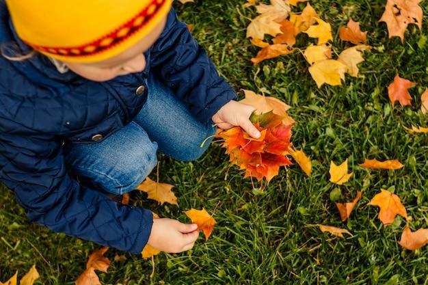 Kind mit gelben und roten blättern Premium Fotos
