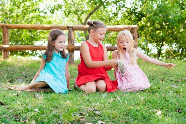 Kinder, die mit einem afrikanischen pygmäenigel spielen. kinder und haustiere. Premium Fotos