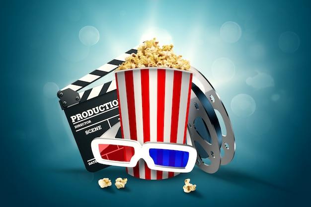 Kino, kinoattribute, kinos, filme, online-viewing, popcorn und gläser. Premium Fotos