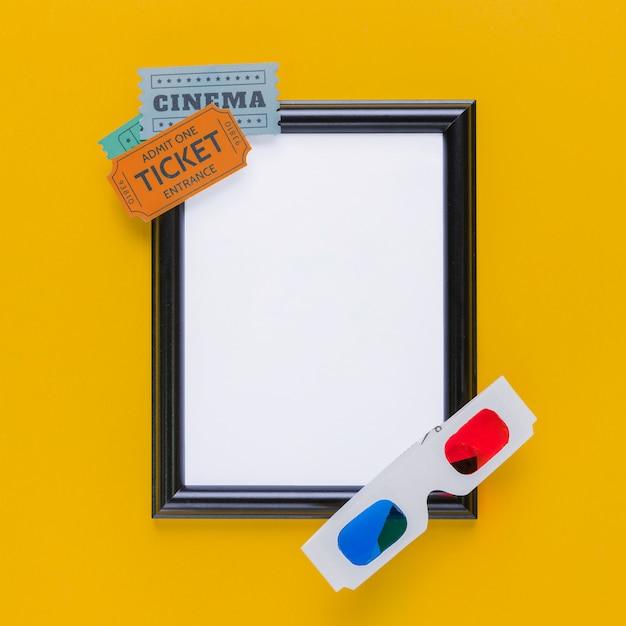 Kinokarten mit einem rahmen und gläsern 3d Kostenlose Fotos
