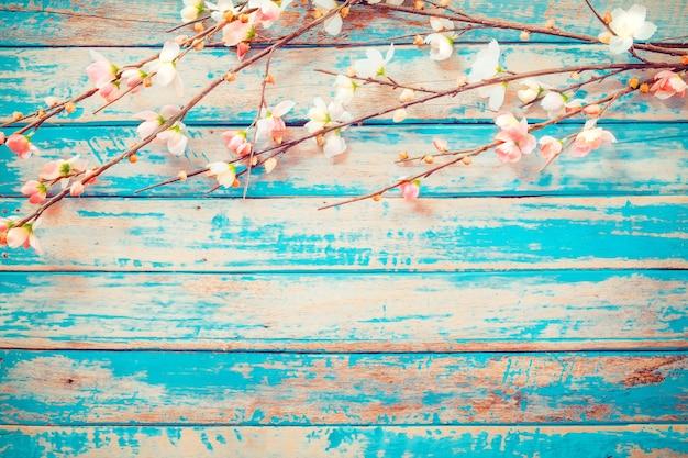 Kirschblüte blüht auf hölzernem hintergrund der weinlese, grenzdesign. weinlesefarbton - konzeptblume des frühlings- oder sommerhintergrundes Premium Fotos