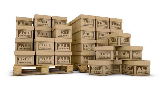 Kisten beschriftet versandkostenfrei auf paletten. 3d rendern Premium Fotos