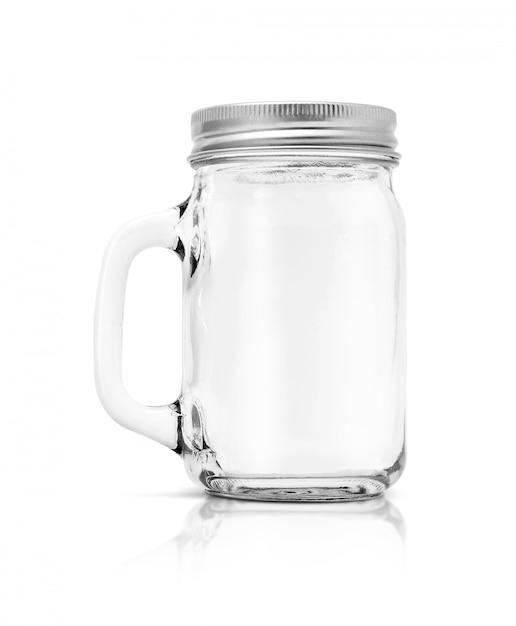 Klarglasflasche mit der aluminiumkappe lokalisiert auf weißem hintergrund Premium Fotos