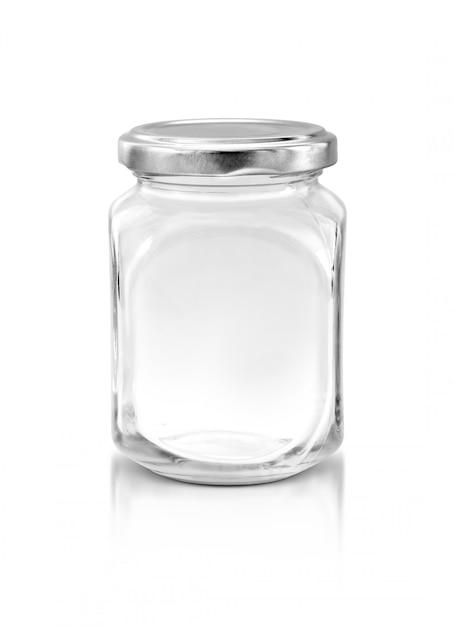 Klarglasflasche mit der silbernen kappe lokalisiert auf weißem hintergrund Premium Fotos