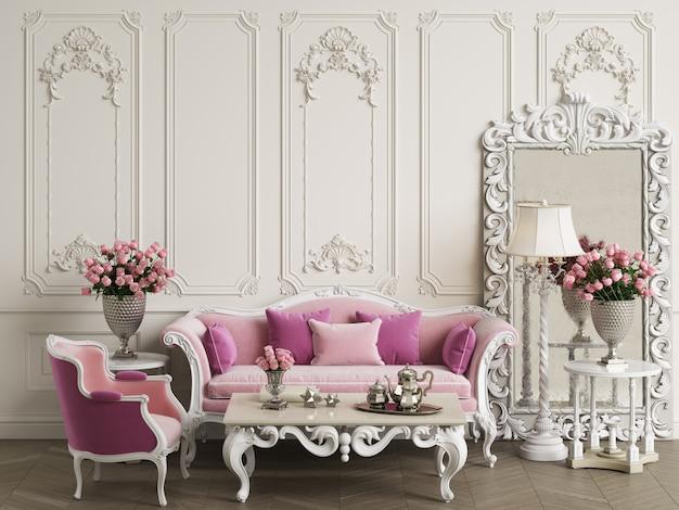 Klassische möbel im klassischen innenraum mit kopienraum Premium Fotos