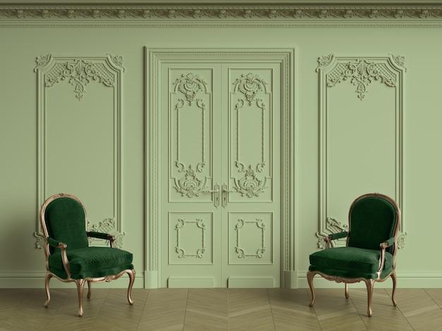 Klassische stühle im klassischen innenraum mit kopienraum. 3d-rendering Premium Fotos