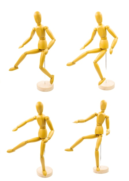 Klassischer dummy mit verschiedenen körperhaltungen Kostenlose Fotos