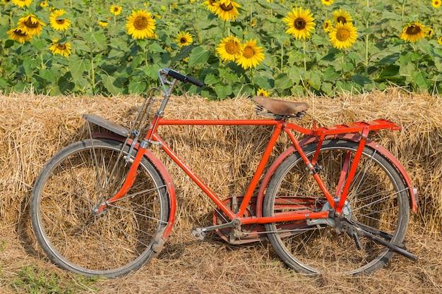 Klassisches rotes fahrrad mit sonnenblumenhintergrund Premium Fotos