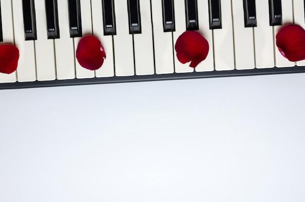 Klavierschlüssel mit den roten rosafarbenen blumenblumenblättern, lokalisiert, draufsicht, kopienraum. Premium Fotos