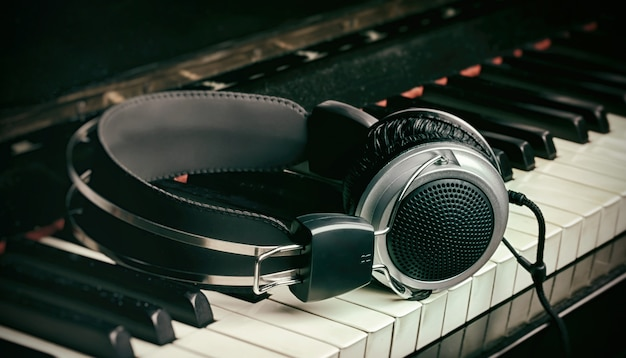 Klaviertastatur und kopfhörer Premium Fotos