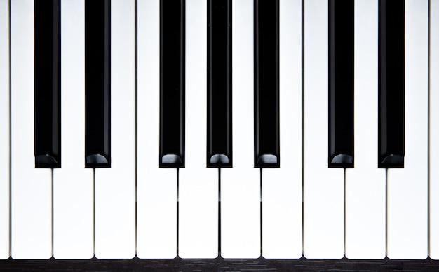Klaviertasten-draufsicht. Premium Fotos