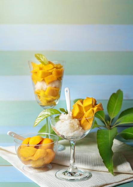 Klebreis mango Premium Fotos