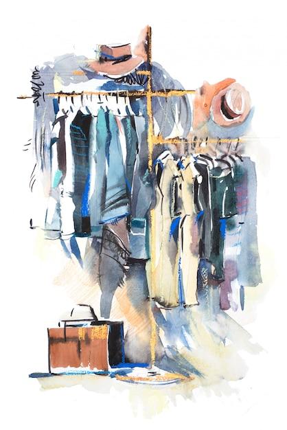 Kleidergeschäft regal und anzeige von kleidung aquarell illustration Premium Fotos